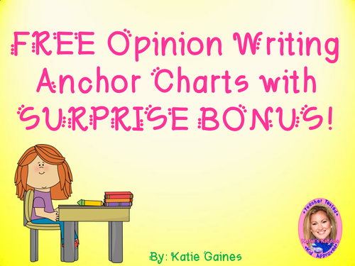 FREE Opinion Writing Anchor Chart Labels