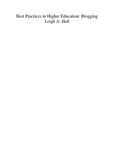 Best Practices in Higher Education: Blogging