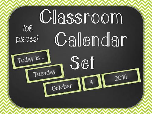 Chalkboard Classroom Calendar Set - Green Chevron