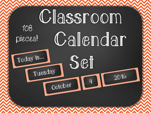Chalkboard Classroom Calendar Set - Orange Chevron