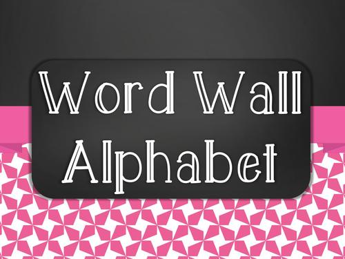 Chalkboard Word Wall Alphabet Heading Set - Pink Star