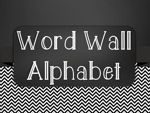 Chalkboard Word Wall Alphabet Heading Set - Black Chevron