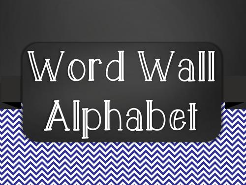 Chalkboard Word Wall Alphabet Heading Set - Blue Chevron