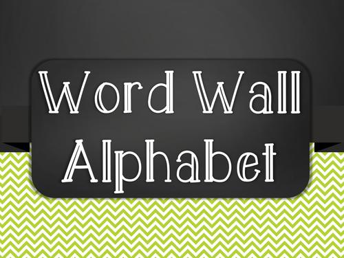 Chalkboard Word Wall Alphabet Heading Set - Green Chevron