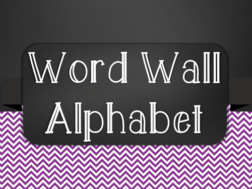Chalkboard Word Wall Alphabet Heading Set - Purple Chevron
