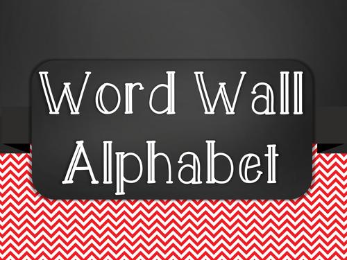 Chalkboard Word Wall Alphabet Heading Set - Red Chevron