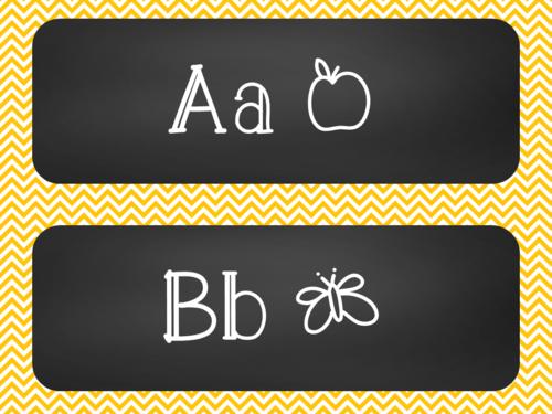 Chalkboard Word Wall Alphabet Heading Set - Yellow Chevron