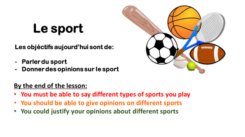 Sport et loisirs Year 7 French