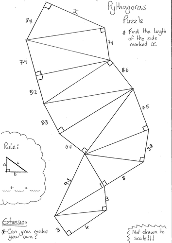 Pythagoras Puzzle Worksheet by dandavies8 - Teaching Resources - Tes