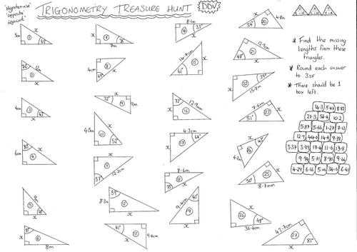 Trigonometry Treasure Hunt Finding Missing Sides