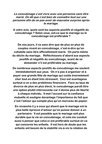 y as french model essay le concubinage ou le mariage by  y12 as french model essay le concubinage ou le mariage by paul 1982 teaching resources tes