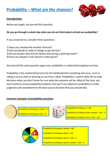 Functional Maths Activity (L1 - L2) - Probability (and GCSE)