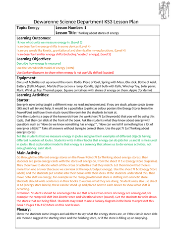 Energy Shifts and Stores with Lesson Plans