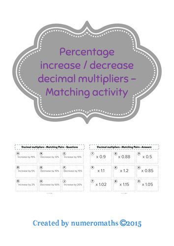 Percentage Increase/Decrease (Decimal multipliers) - Matching activity