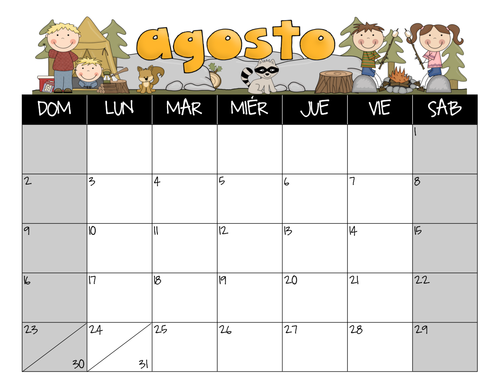 June Calendar In Spanish : Awareness days calendar summer bundle may june july august