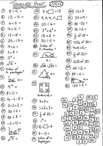 Mixed Bag MathsTreasure Hunt Revision Worksheet