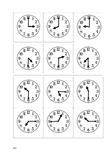 Year 1 And Year 2 Match Up Clock Faces And Times O Clock And