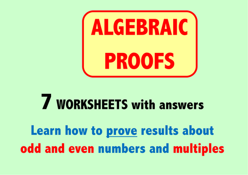 Algebraic Proofs by Skillsheets Teaching Resources TES – Algebraic Proofs Worksheet