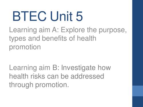 Level 2 BTEC unit 5 HSC whole unit  lesson ppt