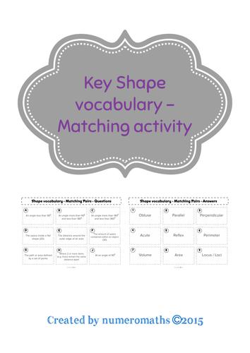 Key Shape Vocabulary - Matching activity