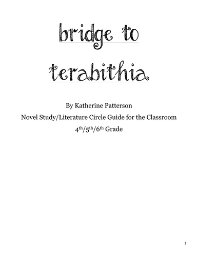 Bridge to Terabithia Novel Study Guide
