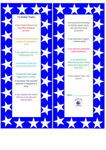 Assessment bookmarks for children's reading FS-YR 6. New national curriculum