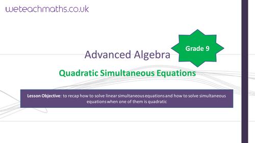 Solving Quadratic Simultaneous Equations Algebraically