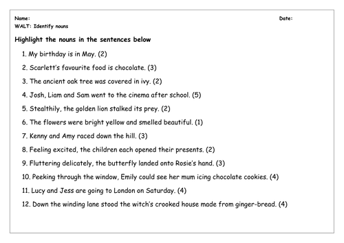 SPaG Worksheet Identify Nouns by chloef23 Teaching Resources TES – Subordinating Conjunctions Worksheet