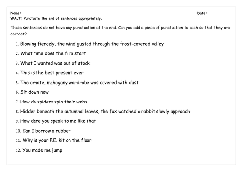 SPaG Worksheet: Full Stops, Question and Exclamation Marks by ...
