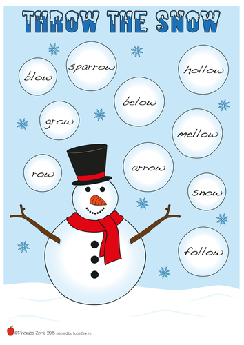 ow Phonics Game 'Throw the Snow'
