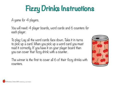 zz Phonics Game 'Fizzy Drinks'
