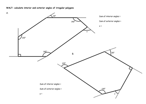 Irregular polygons calculate interior and exterior angles by chloef23 teaching resources tes What do exterior angles of a triangle add up to