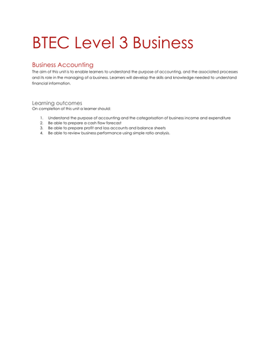 Business Accounting (Unit 5) BTEC National Business Assignment