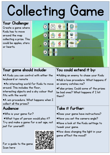 Kodu Independent Learning Cards - UPDATED