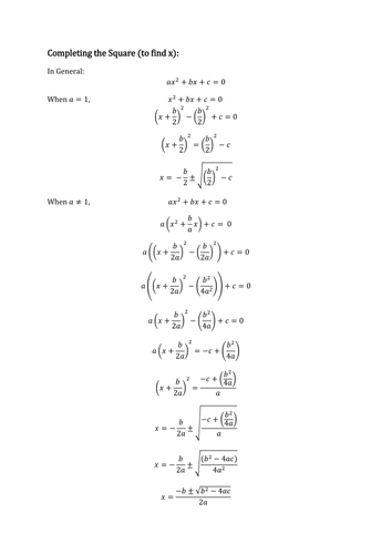 Completing The Square Worksheet By Danisaurusrex
