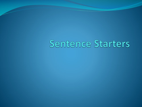 Sentence or Story Starters