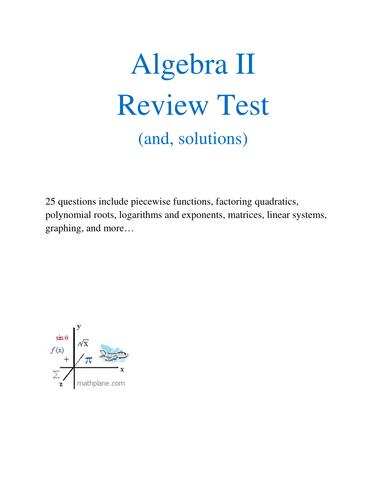 Algebra 2 Review Test