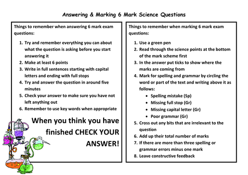 Answering & Marking 6 Mark Questions Help Sheet