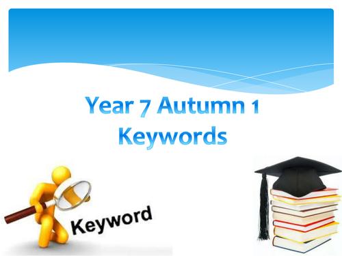 Subject Specific Keywords KS3 Tutor Time activity - Year 7