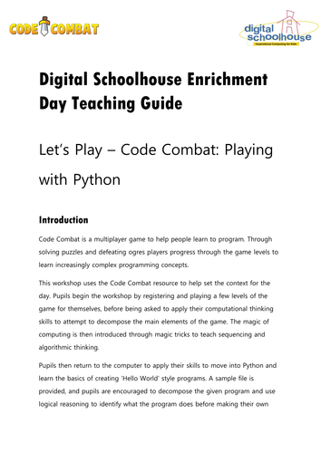 Digital Schoolhouse - Let's Play Code Combat: Playing with Python