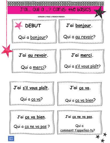 French greetings robots video and writing task by betsybelleteach french the basics follow me cards i have who m4hsunfo