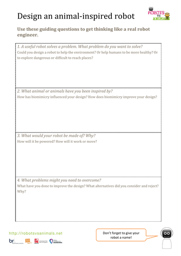 Robots and biomimicry activity worksheets+video