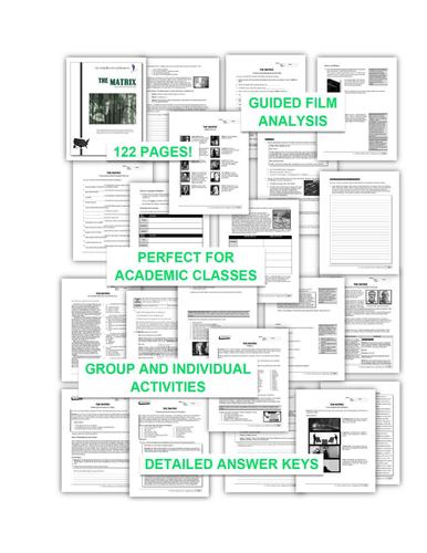 """The Matrix"" COMPLETE UNIT EDITABLE Activities,Tests,Essays,AP Style,Keys"