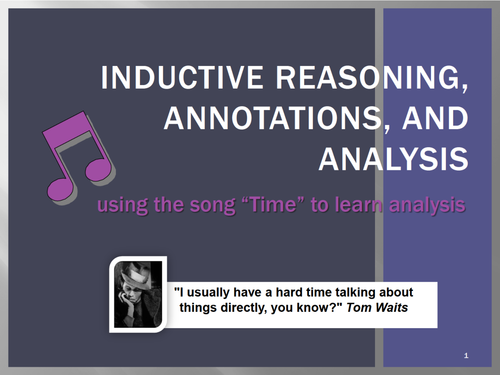 """Time"" SONG-teaching annotation,inductive reasoning,literary analysis"