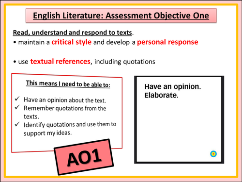 english as coursework assessment objectives