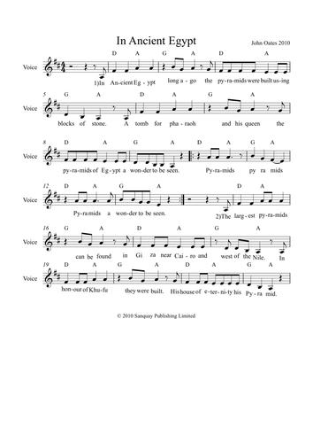 Ancient Egypt Song - MP3 & Score (John Oates)