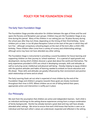 5 Foundation Stage Policies