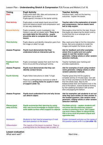 Grade 6-12: Stretch & Compression (Forces & Motion 7.3)