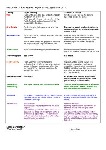 Grade 6-12: Ecosystems (Plants & Ecosystems 7.6)