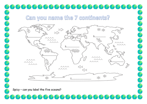 Continents and oceans by lisahoward Teaching Resources TES – Continent Worksheets